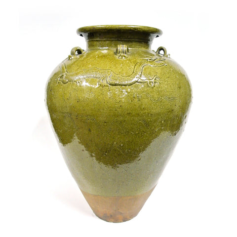 Chinese Large Ceramic Jar with Dragon Design from Ming Dynasty
