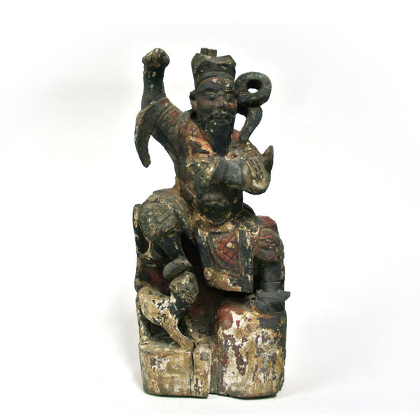 Chinese Old Carved Wooden Man with Foo Dog Statue