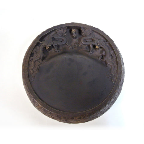 Chinese Large Round Inkstone with Double Dragon Design