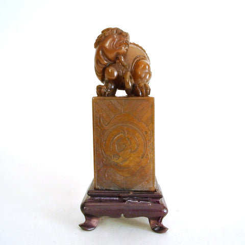 Chinese Soapstone Foo Dog Seal