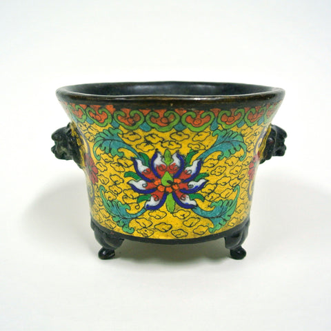 Cloisonne Bronze Tripod Incense Burner with Stamp Seal