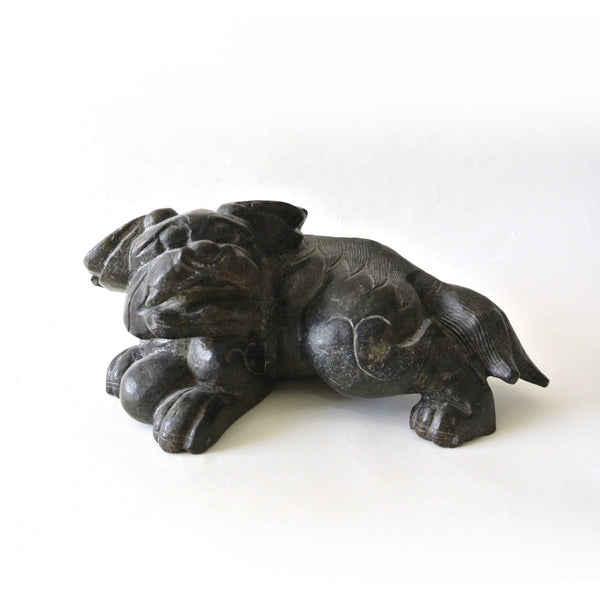Chinese Old Wide Ear Dog Dragon Jade Stone Statue