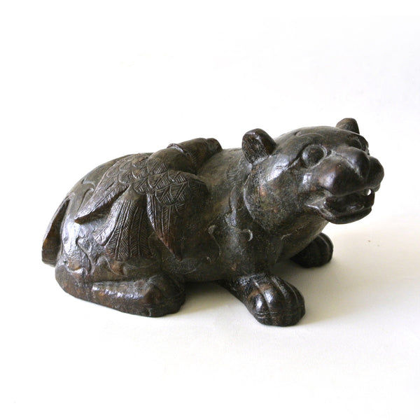 Chinese Old Bear and Eagle Jade Stone Statue