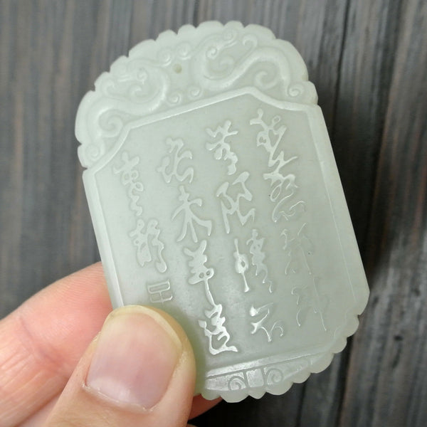 Chinese Old Nephrite Jade Pendant with Dual Front and Back Carving
