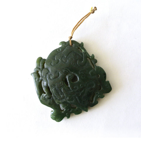 Chinese Spinach Green Jade Pendant with Intricate Archaic Design