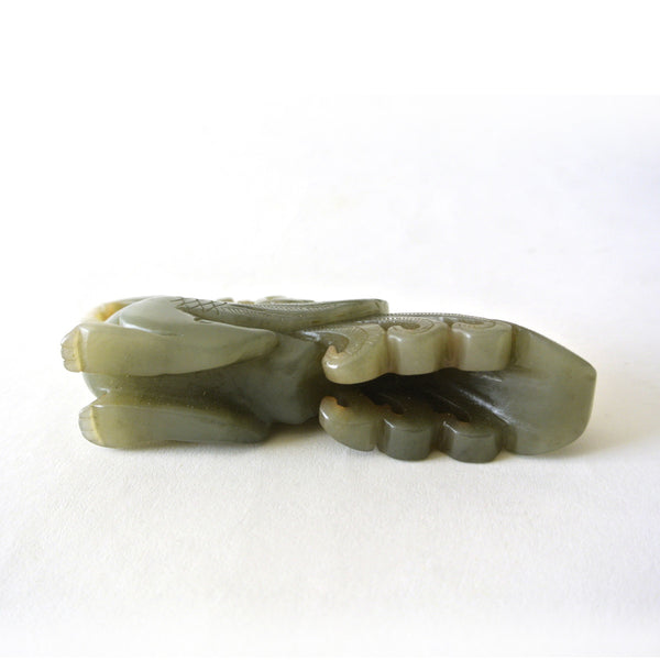 Chinese Old Celadon Jade Statue with Two Phoenix Design