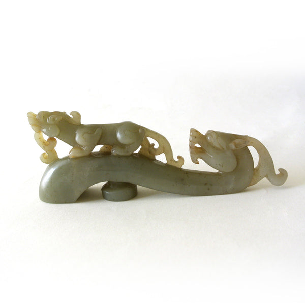 Chinese Old Celadon Jade Belt Hook with Carved Animal Design