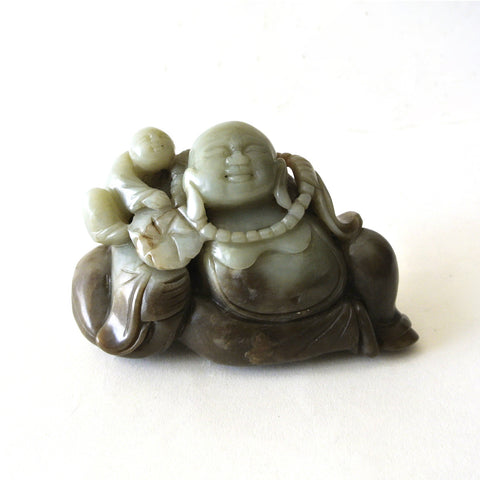 Chinese Hetian Jade Carving of Buddha and Child