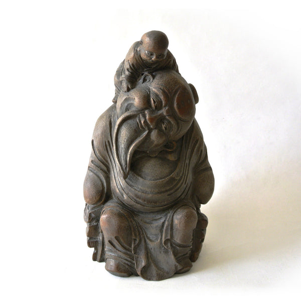 Chinese Old Bamboo Statue Carved Buddha and Child