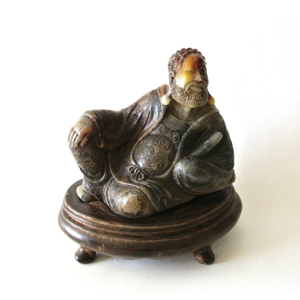 Chinese Rare Exquisite Quality Soapstone of Reclined Man