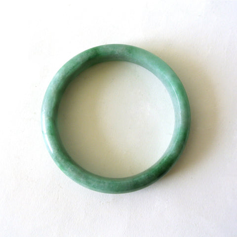 Green Speckled  Light Green Natural Jade Bangle