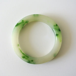 Chinese White and Green Speckled Jade Bangle
