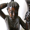 Indonesian Large Hand Carved Ebony Wood Statue of Man and Woman