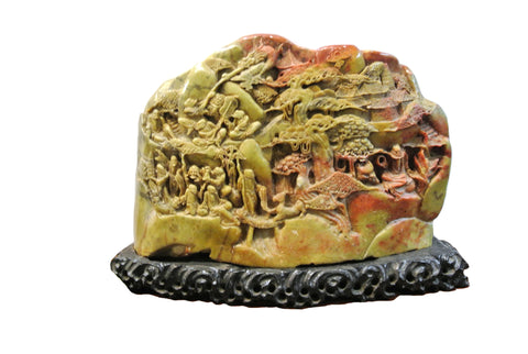 Chinese Large Shousan Stone with Great Carved Scenery