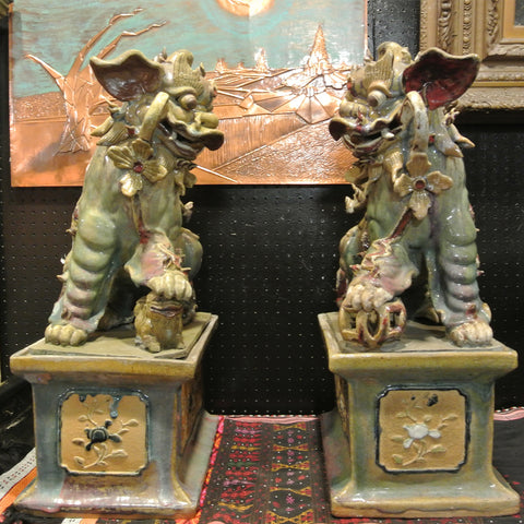 Chinese Large Old Pair of Junyao Porcelain Foodogs