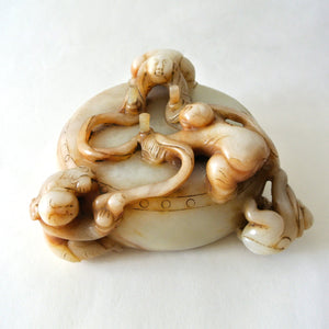 Large Chinese White Jade with Three Men and a Monkey Design