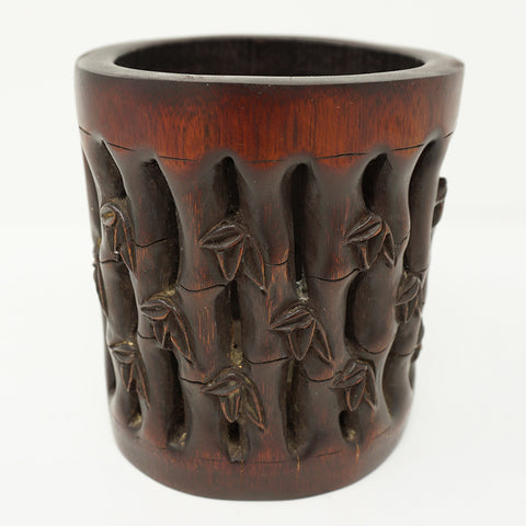 Chinese Bamboo Brush Pot Signed by Artist