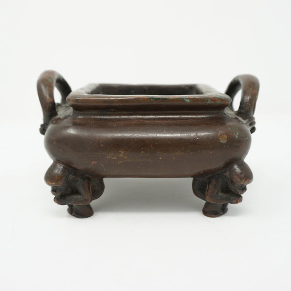 Chinese Bronze Incense Burner with Monkeys