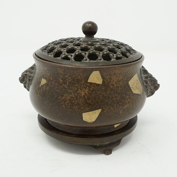 Chinese Bronze with Gold Dotted Design Incense Burner with Lid