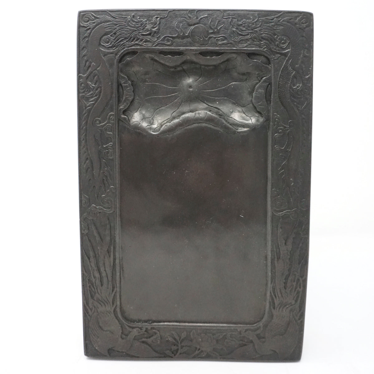 Chinese Ink Stone with Dragon and Letters Design