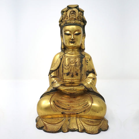 Chinese Antique Gold Plated Bronze Buddha Statue