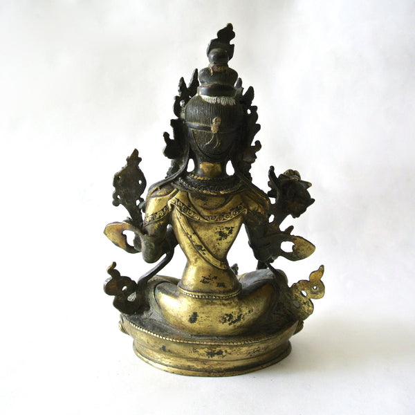 Chinese Rare Gilt Copper Guan-Yin Statue