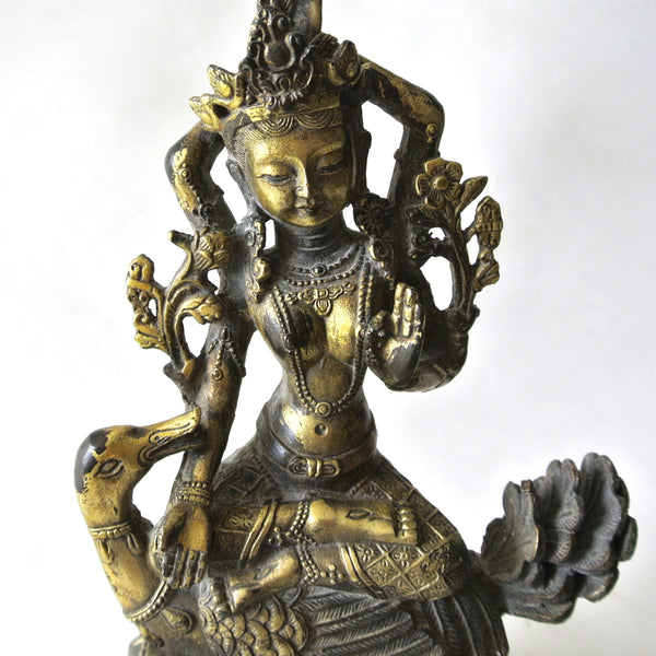 Chinese Gilt Copper Guan-Yin Statue