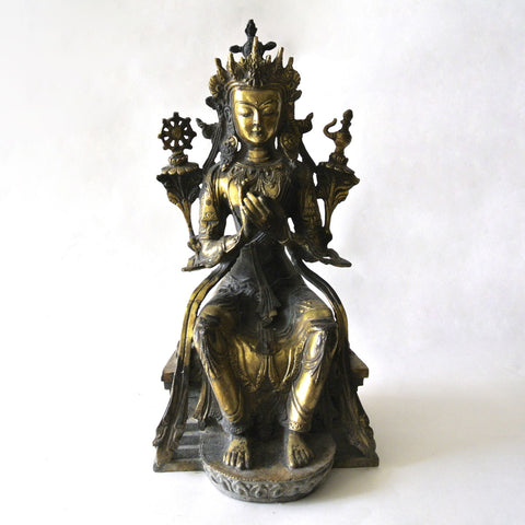 Chinese Large Gilt Copper Buddha Statue