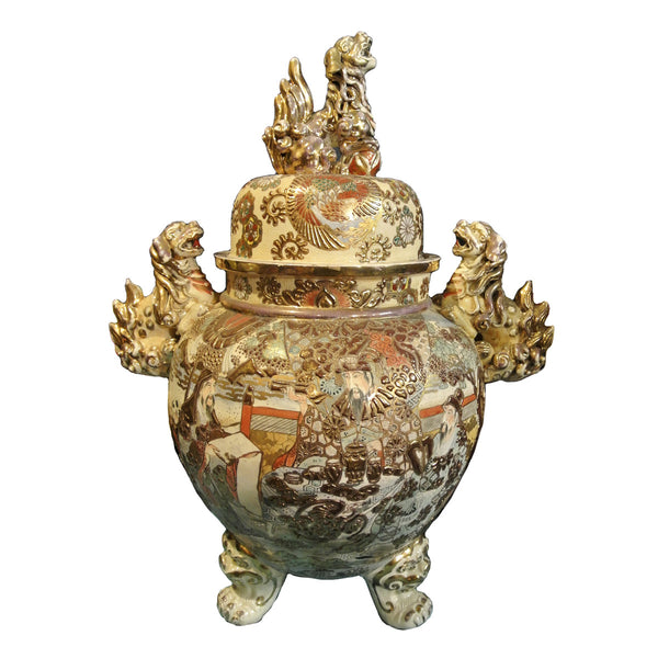 Japanese Large Satsuma Incense Burner with Foodogs