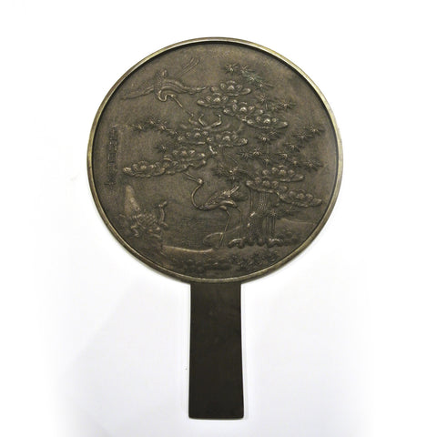 Japanese Bronze Mirror with Crane and Tortoise Scenery