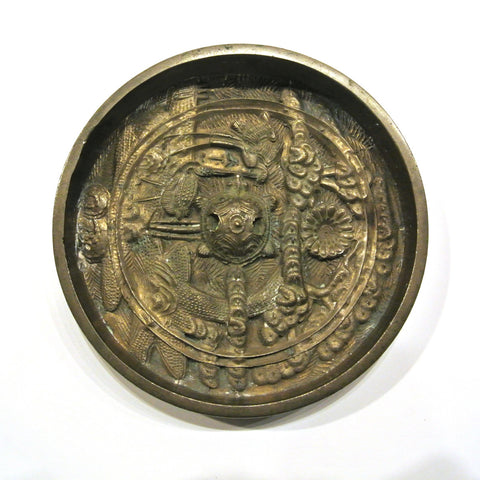 Japanese Bronze Mirror with Turtle and Bird Motif Design
