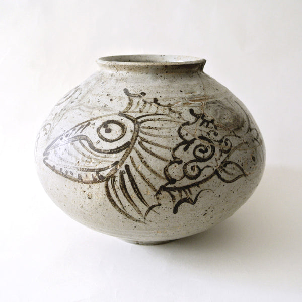 Korean Brown & White Vase with Fish and Seaweed Design from Chosun Period