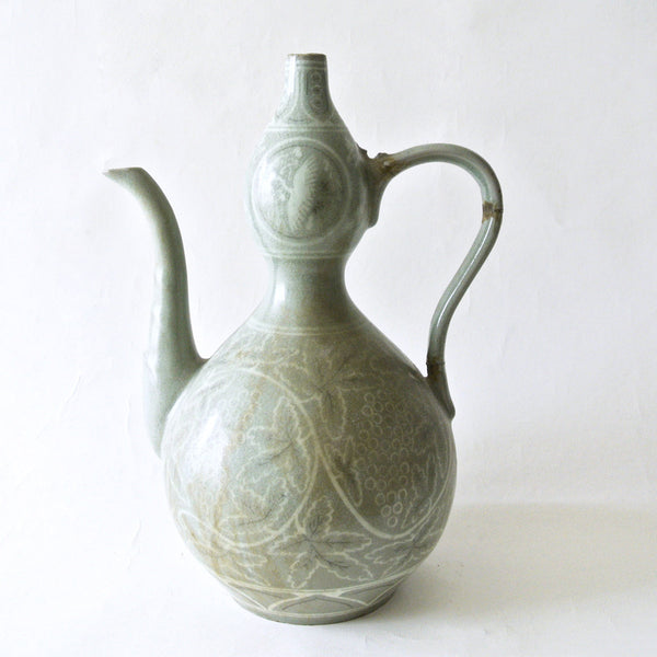 Rare Koryo Style Celadon Ewer with Inlaid Varios Design