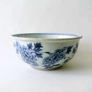 Large Blue and White Bowl with Peony Design from Chosun Period