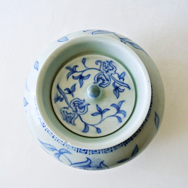 Rare Blue and White Vase with Lid by Bunwon Kiln from Chosun Period