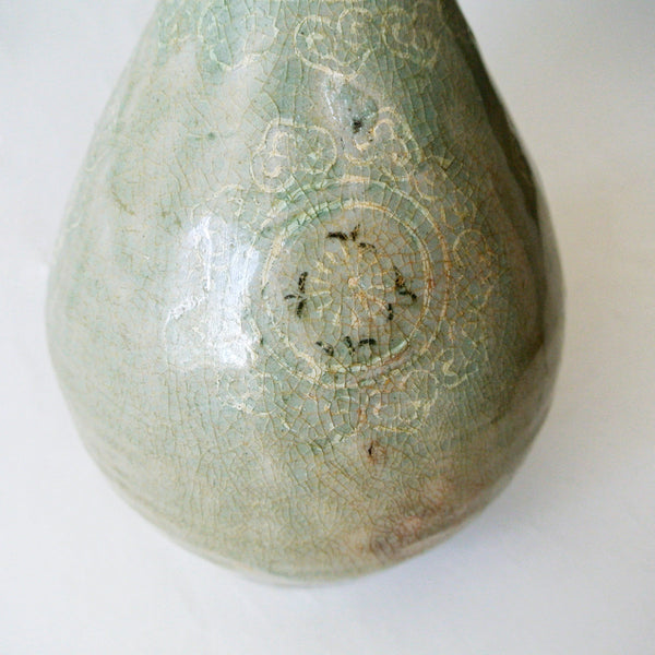 Rare Pear-shaped Celadon Bottle with Black and White Inlaid Design from Koryo Period