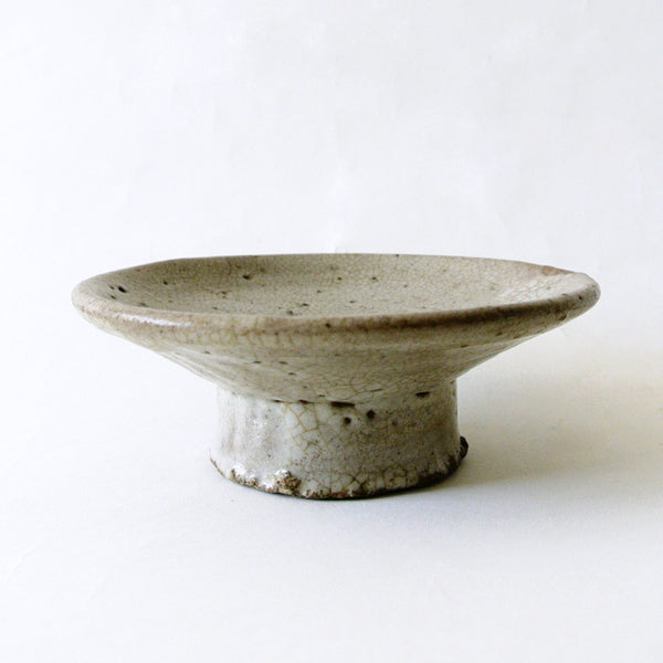 Celadon Glazed Porcelain Pedestal Dish from Chosun Dynasty