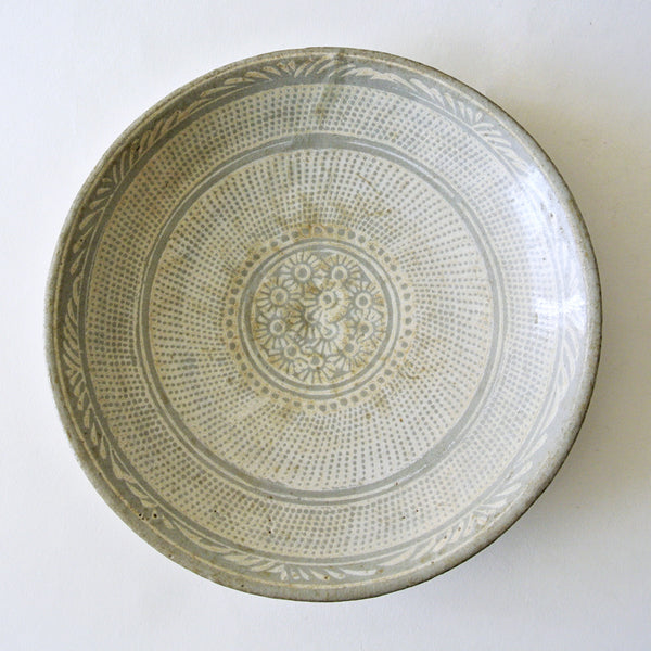Rare Flat Bunchung Pottery Bowl from 16c Chosun Dynasty