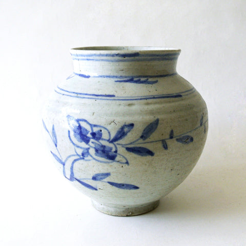 Blue and White Jar with Flower Design from Chosun Period