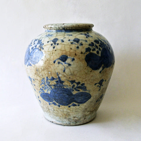 Early Chosun Blue and White Jar with Cracle Glaze