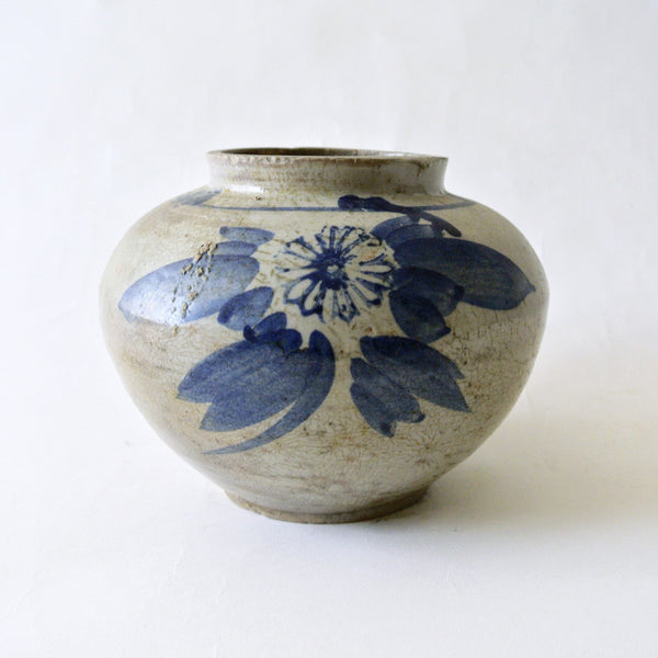 Blue and White Vase with Flower Design from Chosun Dynasty
