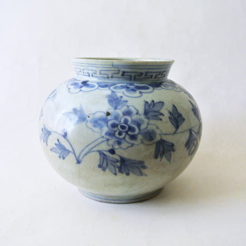Blue and White Vase with Peony Design from Chosun Dynasty