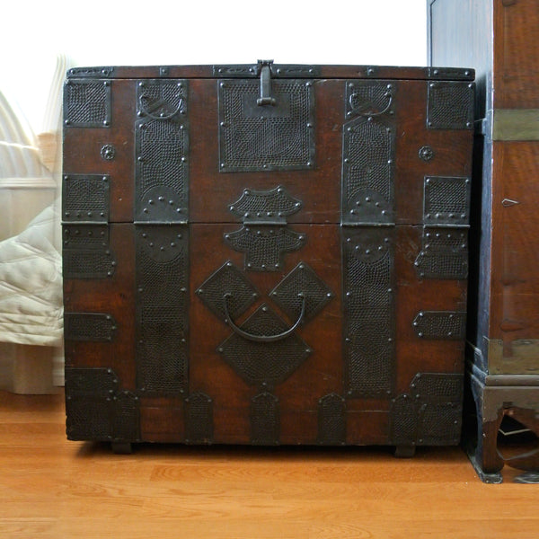 Korean Rare Chosun Dynasty Chest with Beautiful Hammered Iron Details