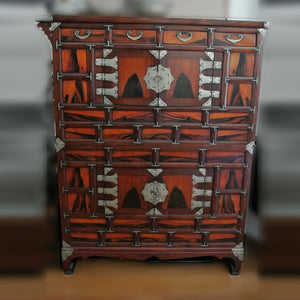 Korean Chosun Dynasty Two-Sectioned Chest with Persimmon Wood and Metal