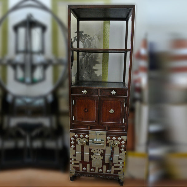 Korean Chosun Cabinet with Decorative Metal Details and Key