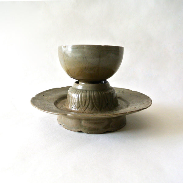 Korean Celadon Cup and Saucer with Inlaid Design from Koryo Dynasty