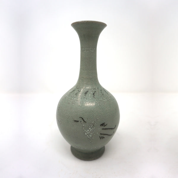 Green Inlaid Crane Design Porcelain Bottle from Chosun Dynasty