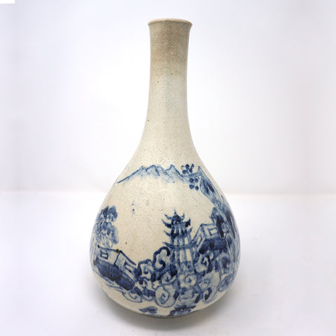 Blue and White Porcelain Bottle Vase with Scenery Painting Design