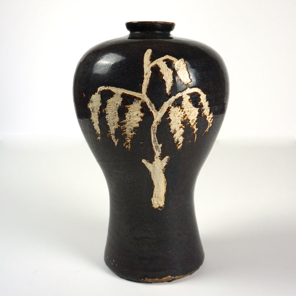 Sea Cucumber Glazed Maebyeong Porcelain Vase with Willow Inlaid Design