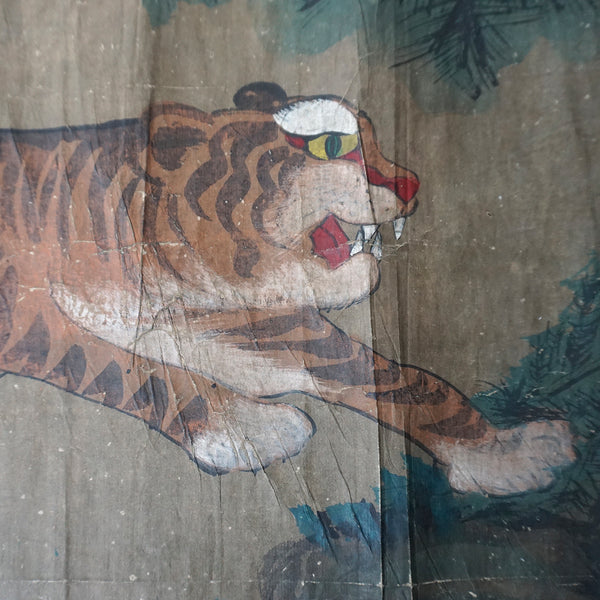 Taoist Monk with Leaping Tiger Minhwa Painting from Chosun Dynasty